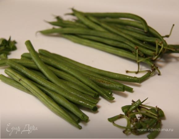 Зелёная фасоль с тахини и креветками