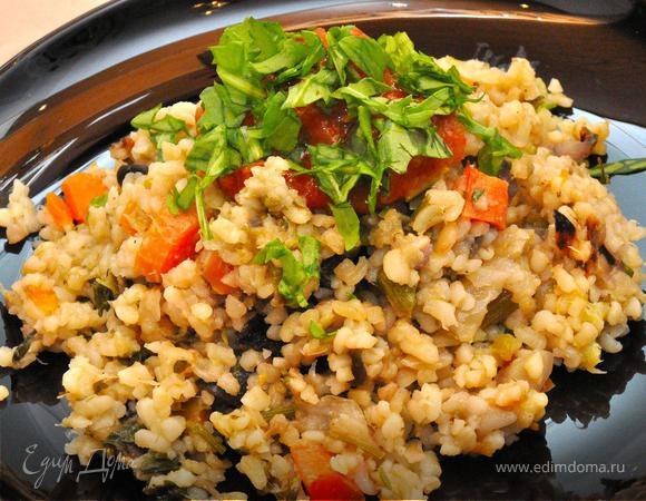 Булгур с печеными овощами и микст салат с ростками фасоли. (Постные дни)