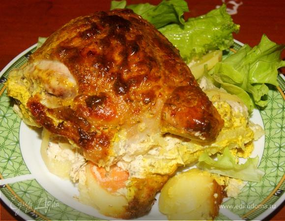 Запеченая курочка с картофелем!!!!