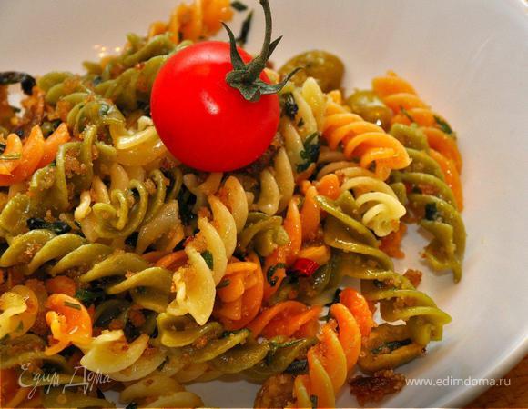 Фузилли с пангрататой и оливками. (Постные дни)
