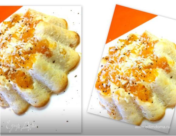 Творожно-рисовый десерт с персиками