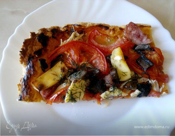 Слоеная пицца с копченой грудкой