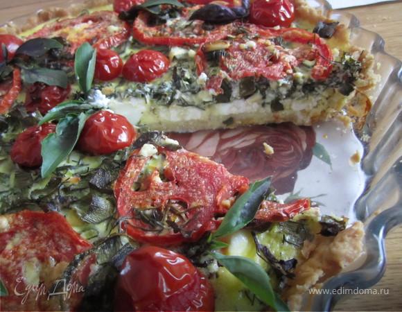 Тарт с фетой и зеленью.