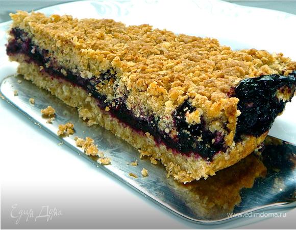 Овсяное печенье с черникой и корицей.