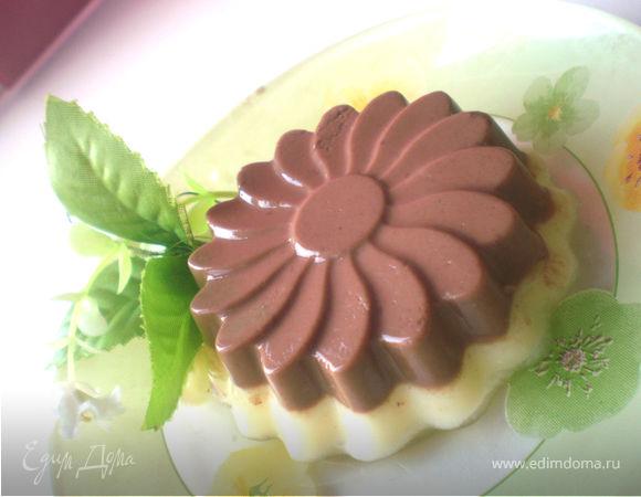 Дынно-шоколадный йогуртовый пудинг