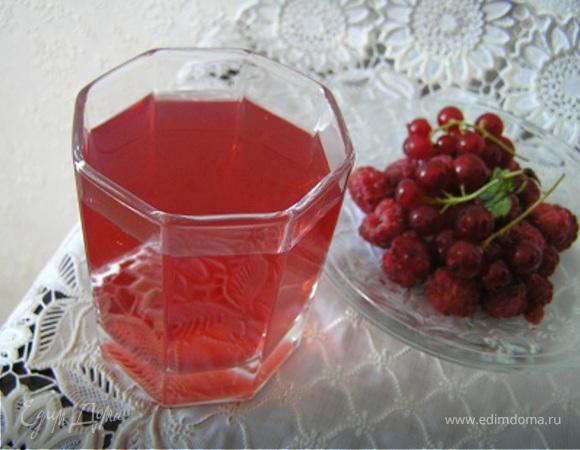 Малиновый компот с красной смородиной и мятой