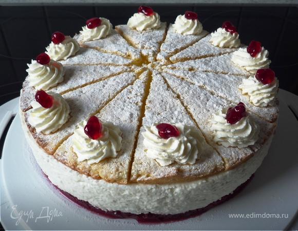 Творожно-сливочный торт с брусничной прослойкой