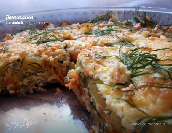 Фриттата с форелью, картофелем и творожным сыром