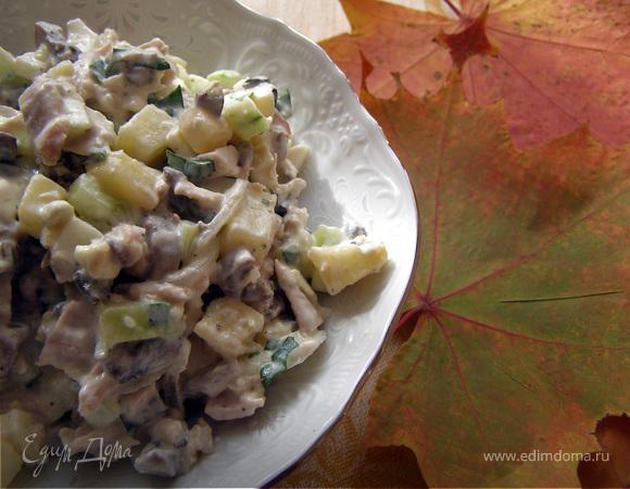 салат с грибами и курицей и свежим огурцом рецепт с фото очень вкусный