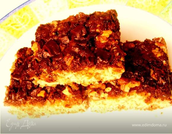 Овсяные пирожные с шоколадом и орехами