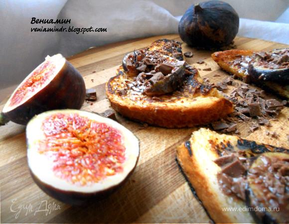 Французские тосты с инжиром, шоколадом и медом