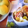 Пряные куриные бёдрышки с айвой и виноградом