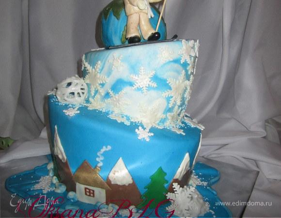"""Падающий торт """"Сноубордист у планеты Земля"""""""