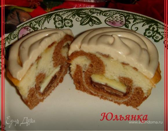 Маффины бисквитные с молочно-белым шоколадом