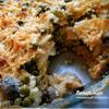 Паста, запеченная с шампиньонами, зеленым горошком и сливочно-творожным соусом