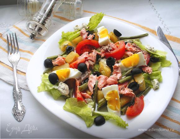 """Салат """"Нисуаз с лососем"""" от Гордона Рамзи"""