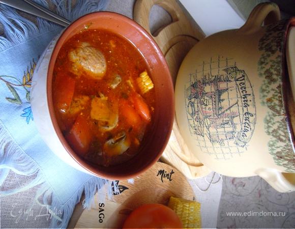 Томлёный томатный суп с индейкой