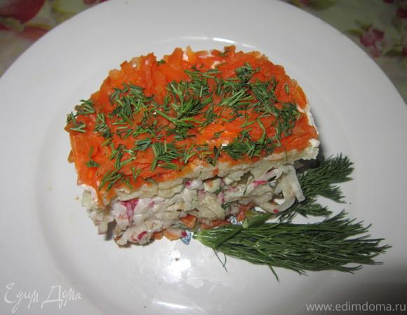 Слоеный салат из печени