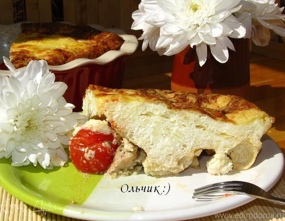 Творожно-рисовый пудинг с помидорами-черри и курицей