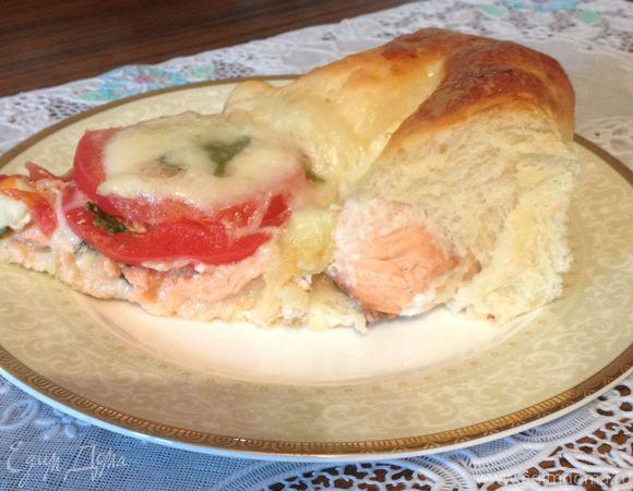 Пирог рыбный с моцареллой