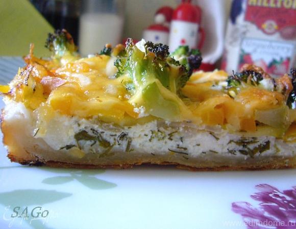 Овощной пирог с тремя видами сыра