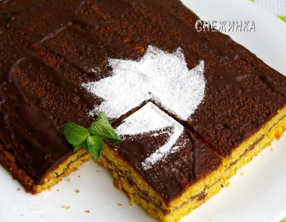 Тыквенно-апельсиновый пирог с шоколадной помадкой