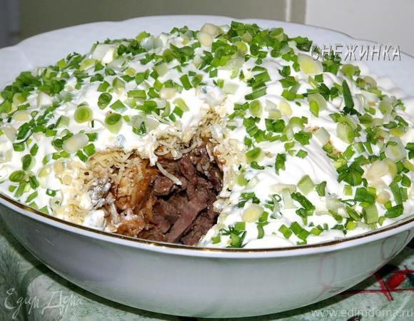 салаты из отварной говядины с грибами рецепты