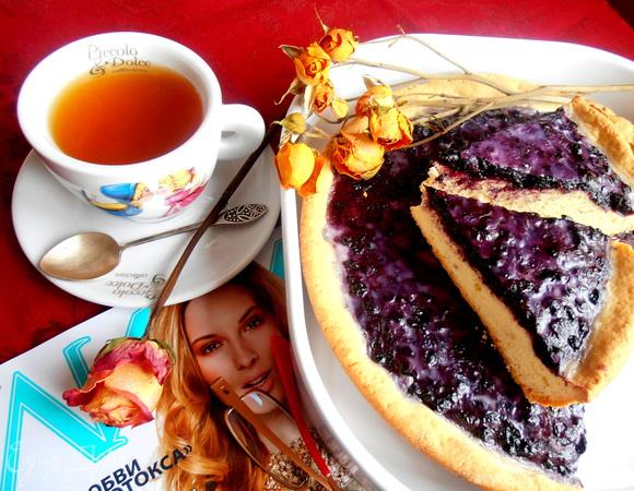 Незабываемый пирог с черникой со сливками