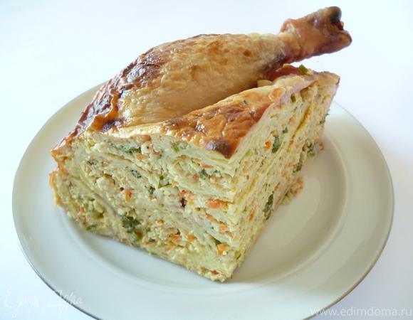 Курица, фаршированная блинами (мой вариант)