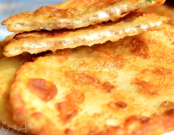 Очень вкусные тоненькие пирожки с мясом и картошечкой