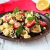 Салат по-гречески с печеными баклажанами и кус-кусом