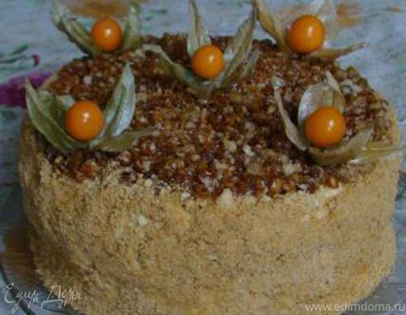 """Торт """"Пуховик"""" под хрустящим ореховым крокантом"""