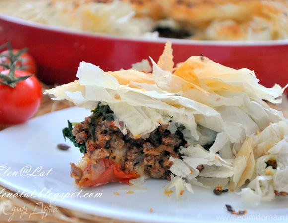 Пирог с бараниной, помидорами и тестом фило