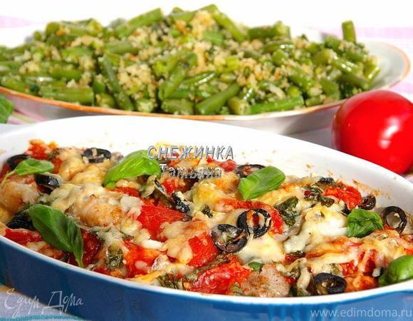 Рыба по-итальянски со стручковой фасолью в хлебных крошках (Fagiolini all aglio e mollica)»