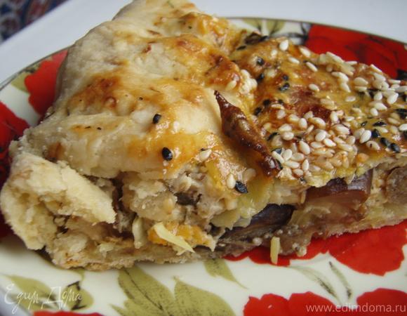 Тосканский пирог с картофелем, грибами и пореем