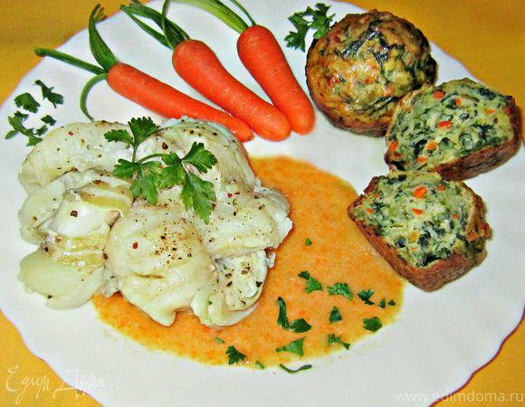 Венки из белой рыбы с овощными мини-кексами