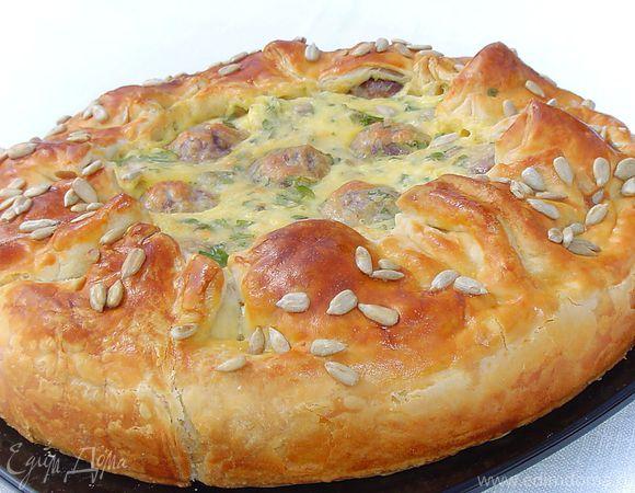 Пирог из тефтелей рецепт