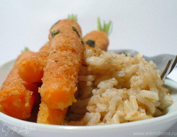 """""""Нескучная"""" морковка в сырном панцире с рисом на масле с шалфеем"""