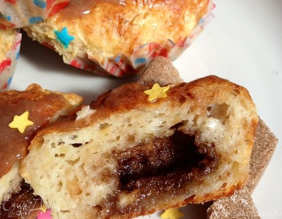 Творожно-яблочные кексы с сахарно-коричной начинкой