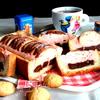 Песочный пирог с фруктами в творожном муссе + печенье