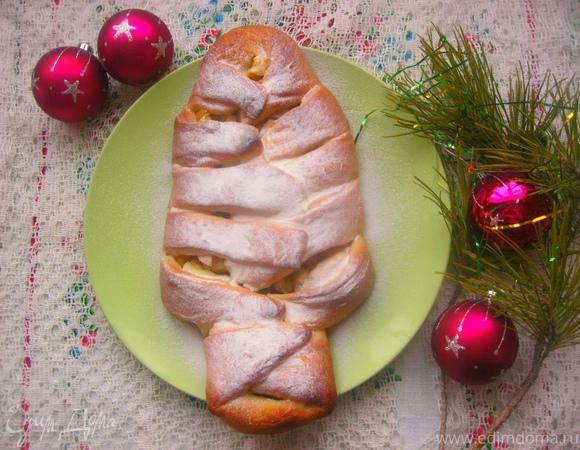 """Пирог """"Заснеженная елочка"""" с яблочной начинкой"""