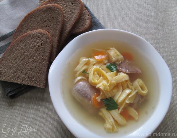 Суп из индейки с блинчиками