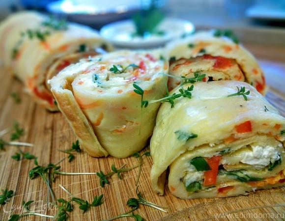 Блин, запеченный в духовке с овощами