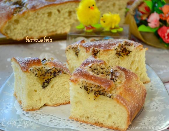 Дрожжевой масляный пирог с маком