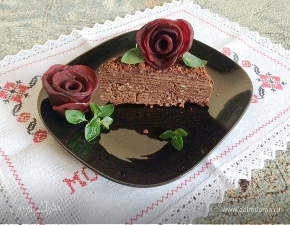 «Наполеон» с горьким шоколадом, кофе и миндальной пастой