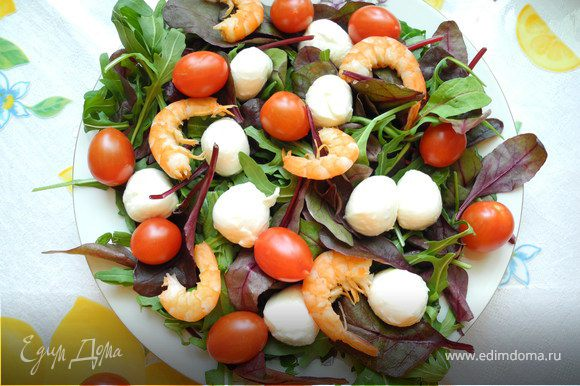 На плоское блюдо уложить слой салата, на него бросить шарики моцареллы, помидоры черри и отварные или припущенные в масле морепродукты или креветки. Залить все заправкой из бальзамического уксуса и оливкового масла. Очень вкусно!