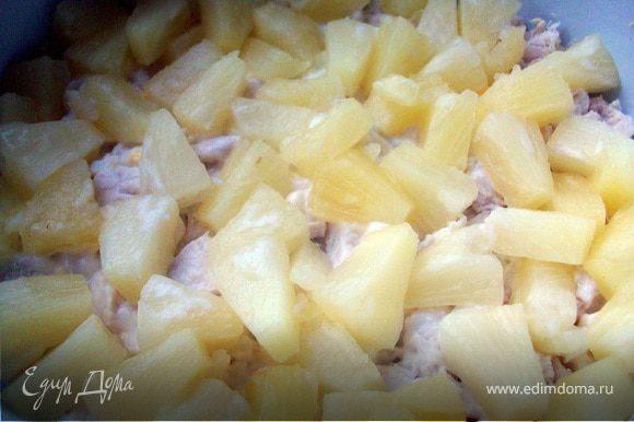 Выкладываем слои: -курица -майонез -ананасы -майонез -яйца -майонез