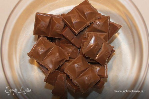 Шоколад поломать на кусочки и поставить в микроволновку на 1 мин.