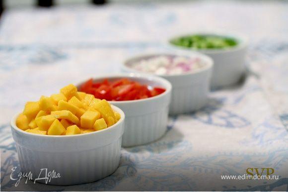 Соединить манго, огурцы, помидоры, красный лук, сок лайма и листья кинзы в небольшой миске и хорошо перемешать. Посолить и по перчить по вкусу.