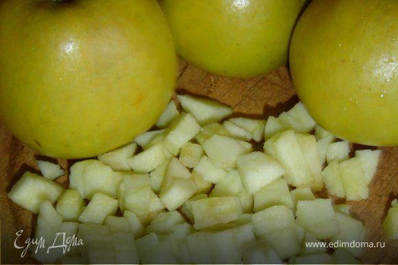 Яблоки очищаем и нарезаем небольшими кубиками.